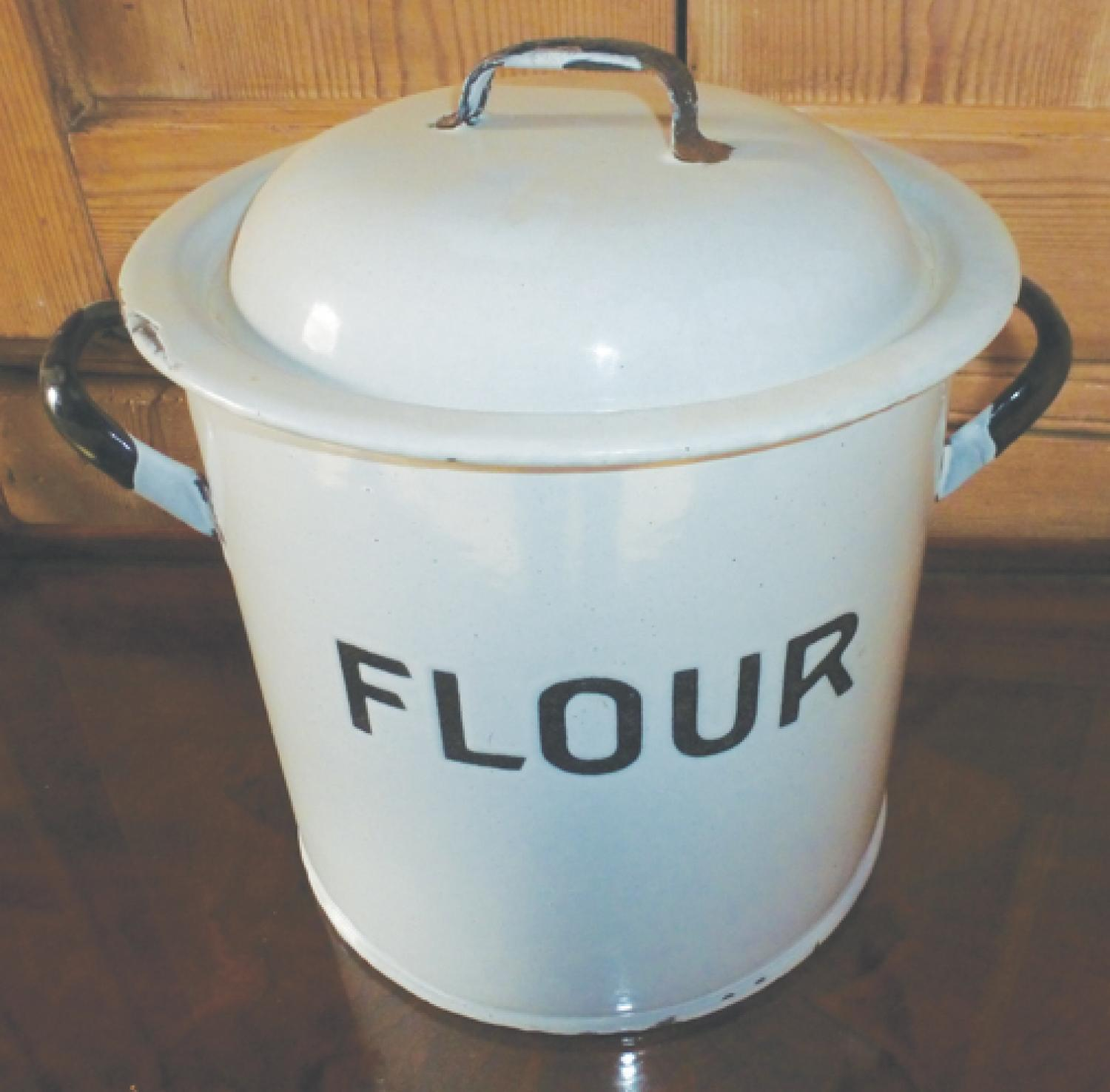 VINTAGE ENAMEL FLOUR BIN in THE ANTIQUE KITCHEN