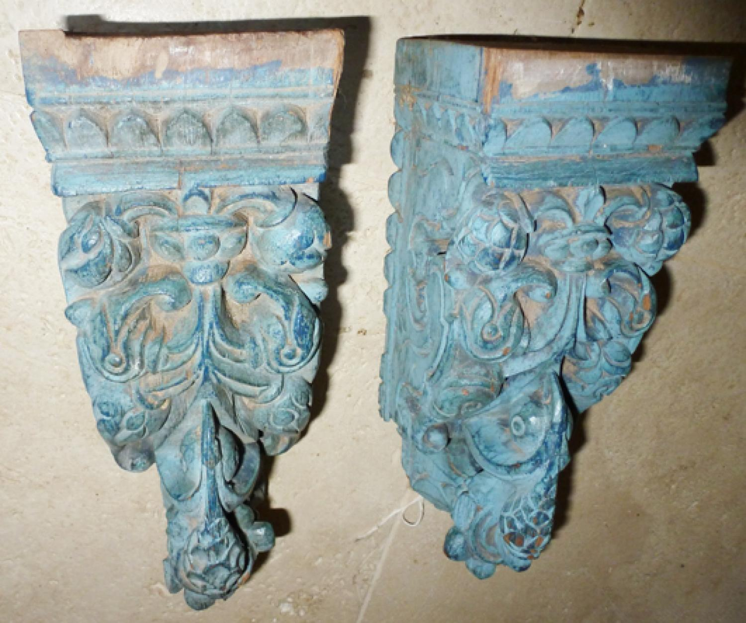 Carved Peacock Brackets