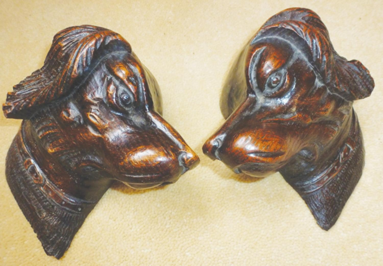 Pair 19th cent carved oak Sporting Dogs