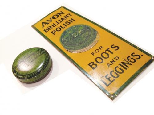 Avon Boot Polish tin & advertising door plate
