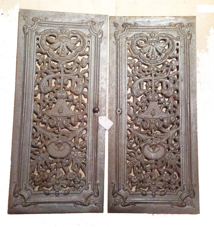 Pair Antique French Cast Iron Doors - Pair Antique French Cast Iron Doors In INGLENOOK & FIREPLACE