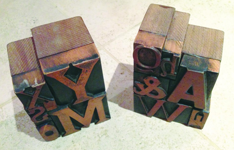 Antique Printers Block Book Ends