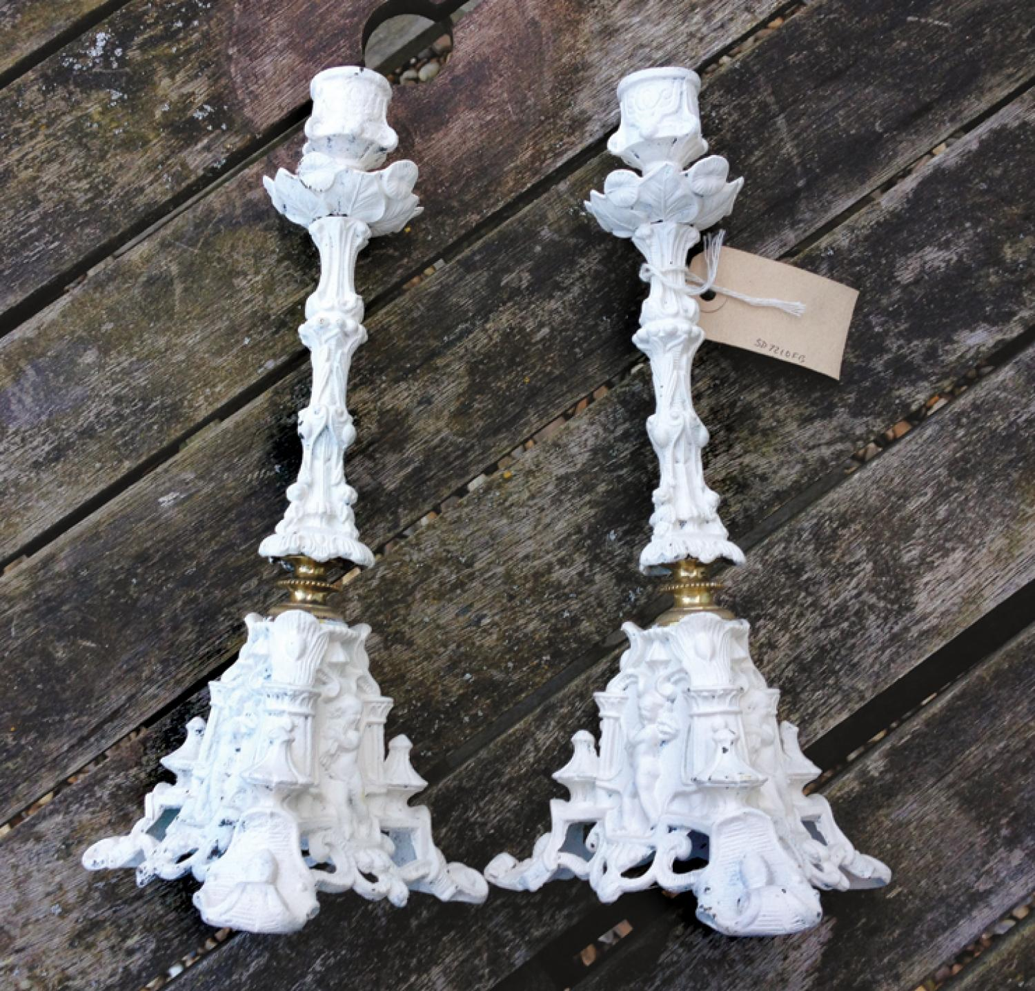 French White Cherub Candlesticks