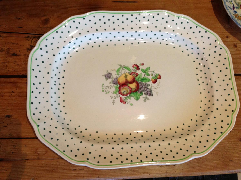 Large Spode Polka Dot Meat Platter