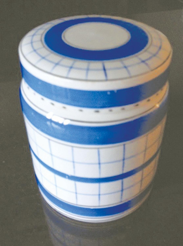 Blue Cottage Green Ware Storage Jar