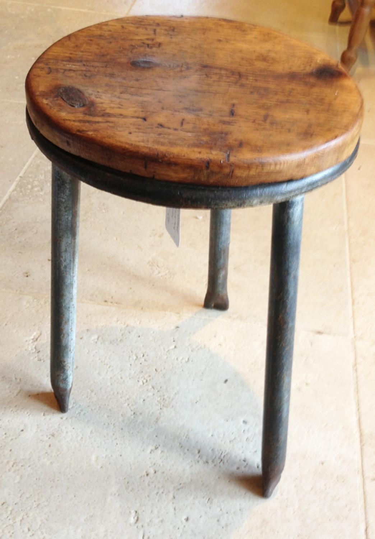 Vintage Metal Milking Stool with Oak top