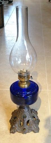 Victorian Blue Glass Oil Lamp