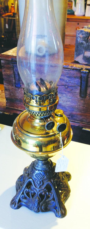 Antique Cast Iron & Brass Oil Lamp