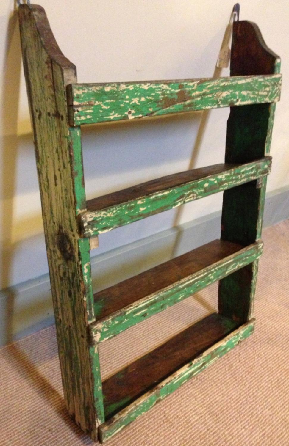 19th Cent Shelves in Worn Green Paint