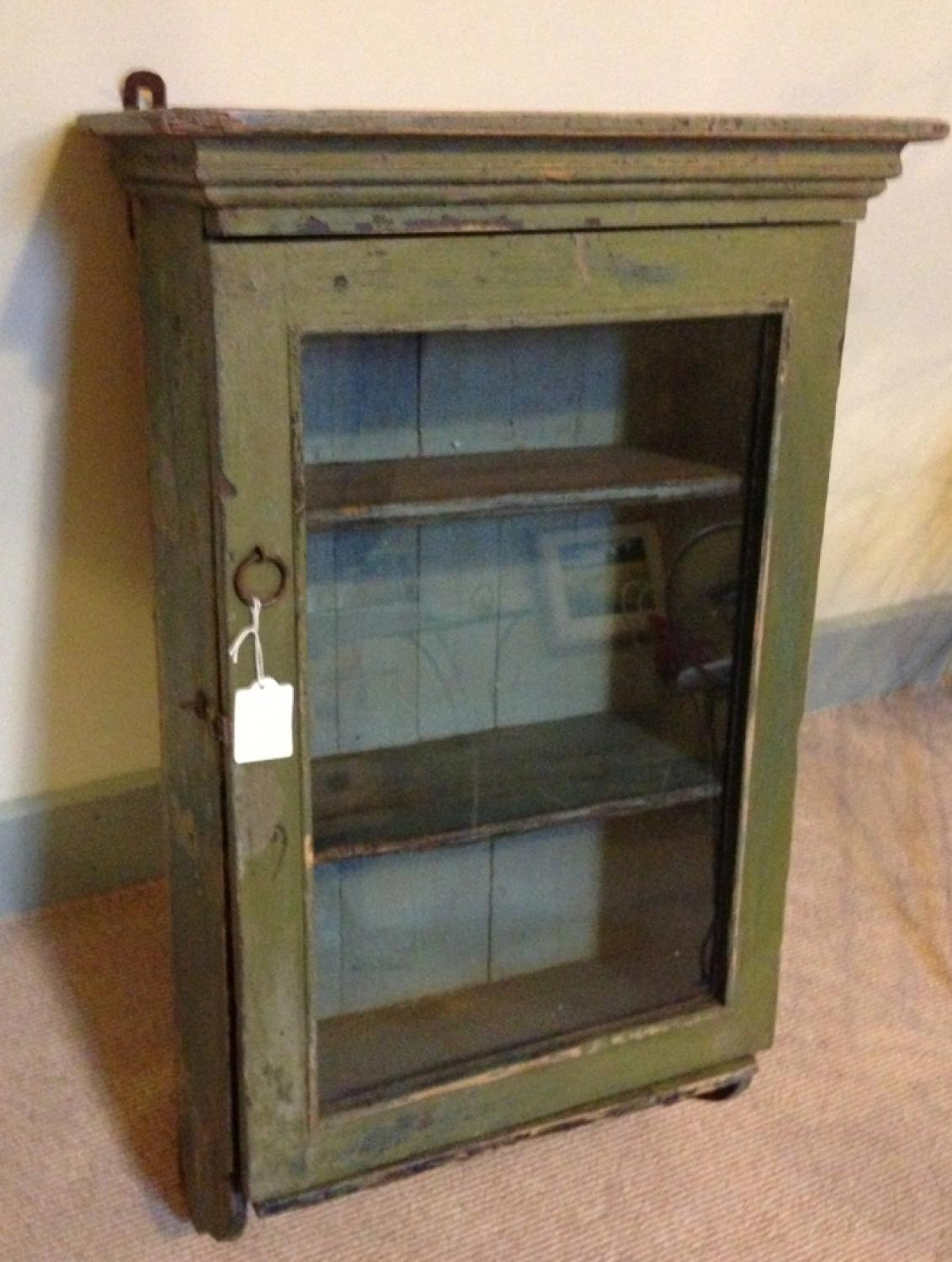 Antique Green Wall Cupboard