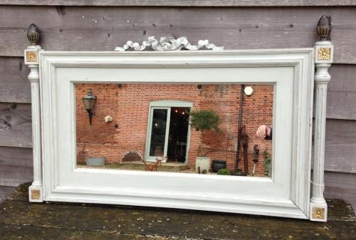 Antique Mirror with finial ends
