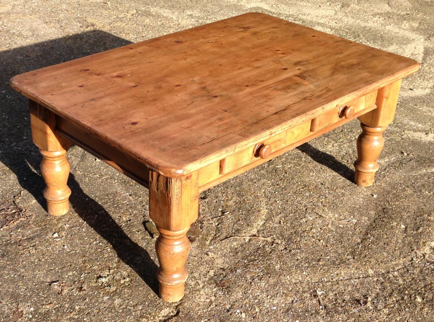 Old Pine Coffee Table with Drawers