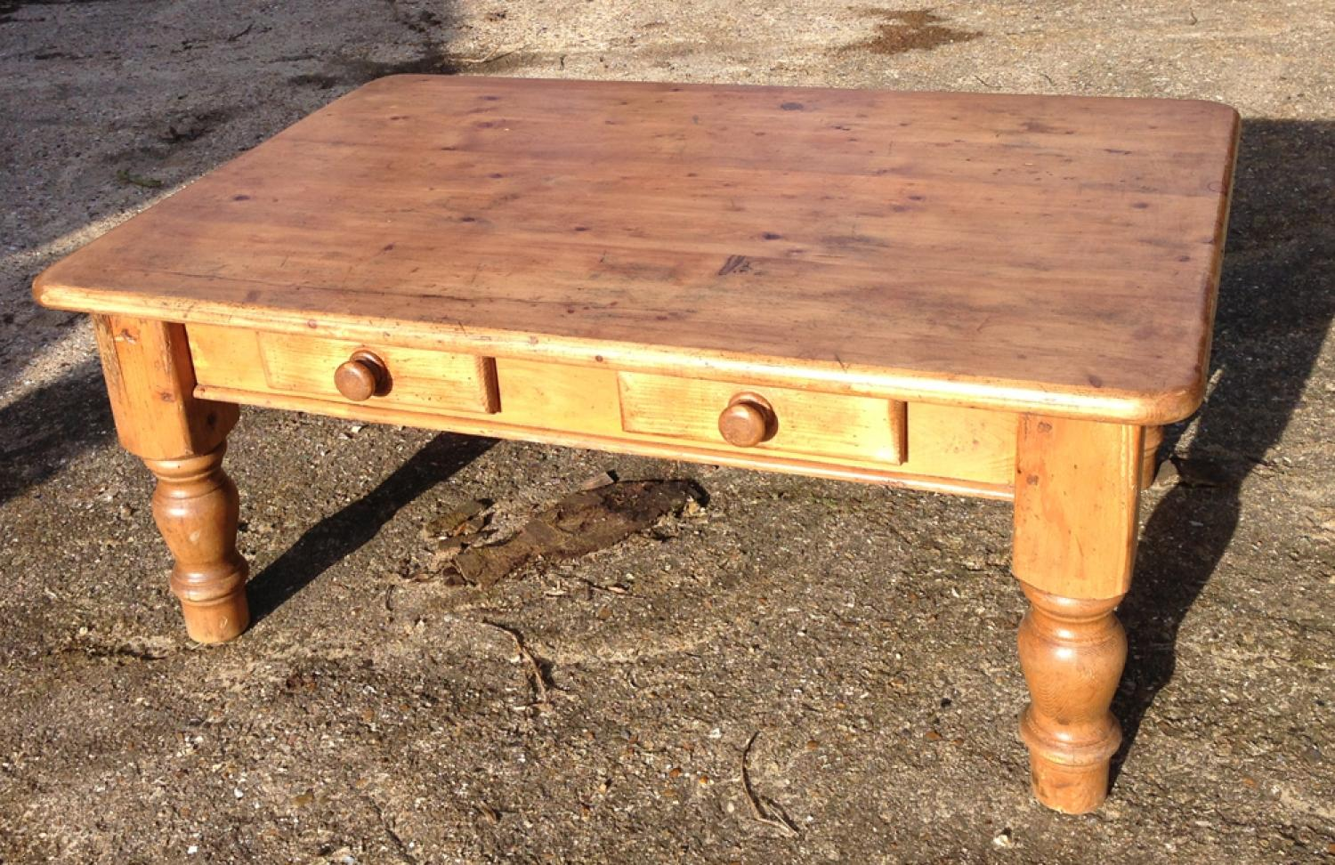 Old Pine Coffee Table With Drawers In Furniture Amp Boxes
