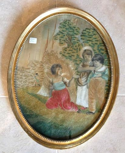 18th Cent Ebroidered Picture on Silk