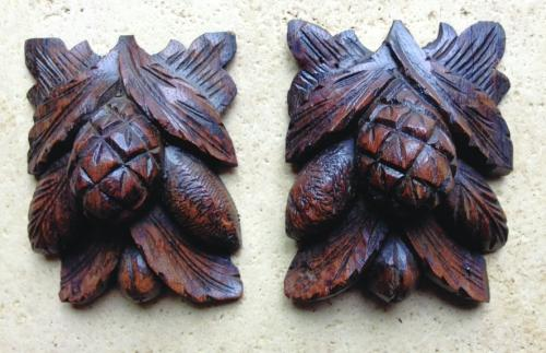 Pair 19th Cent carved Oak Pine Cones