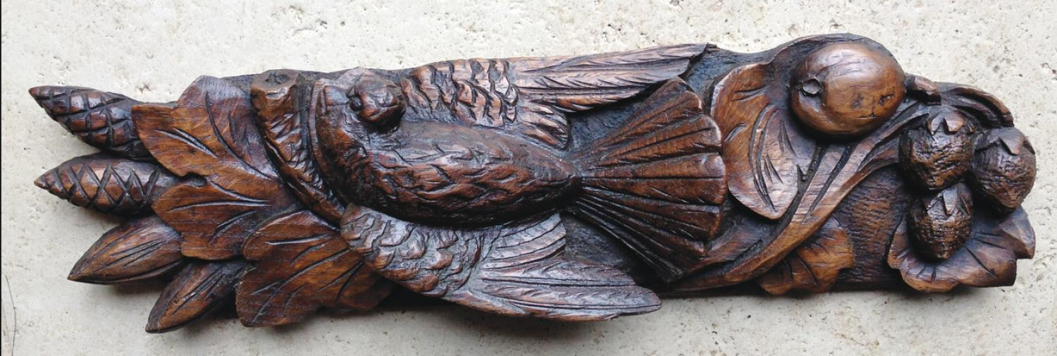 19th Cent Carved Oak Panel (Fantailed Dove)