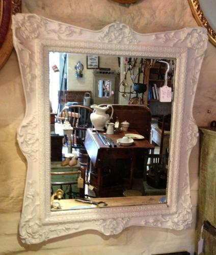 Old white Painted Mirror