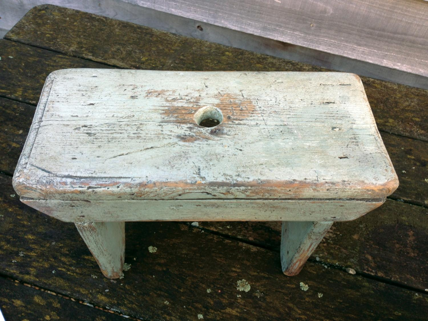 Small stool in pale green paint