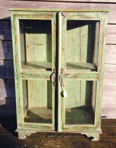 19th Cent Glazed cupboard in old Paint