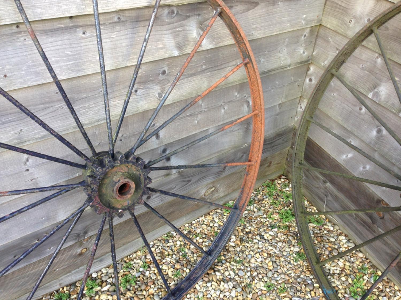 Pair Large iron cart wheels