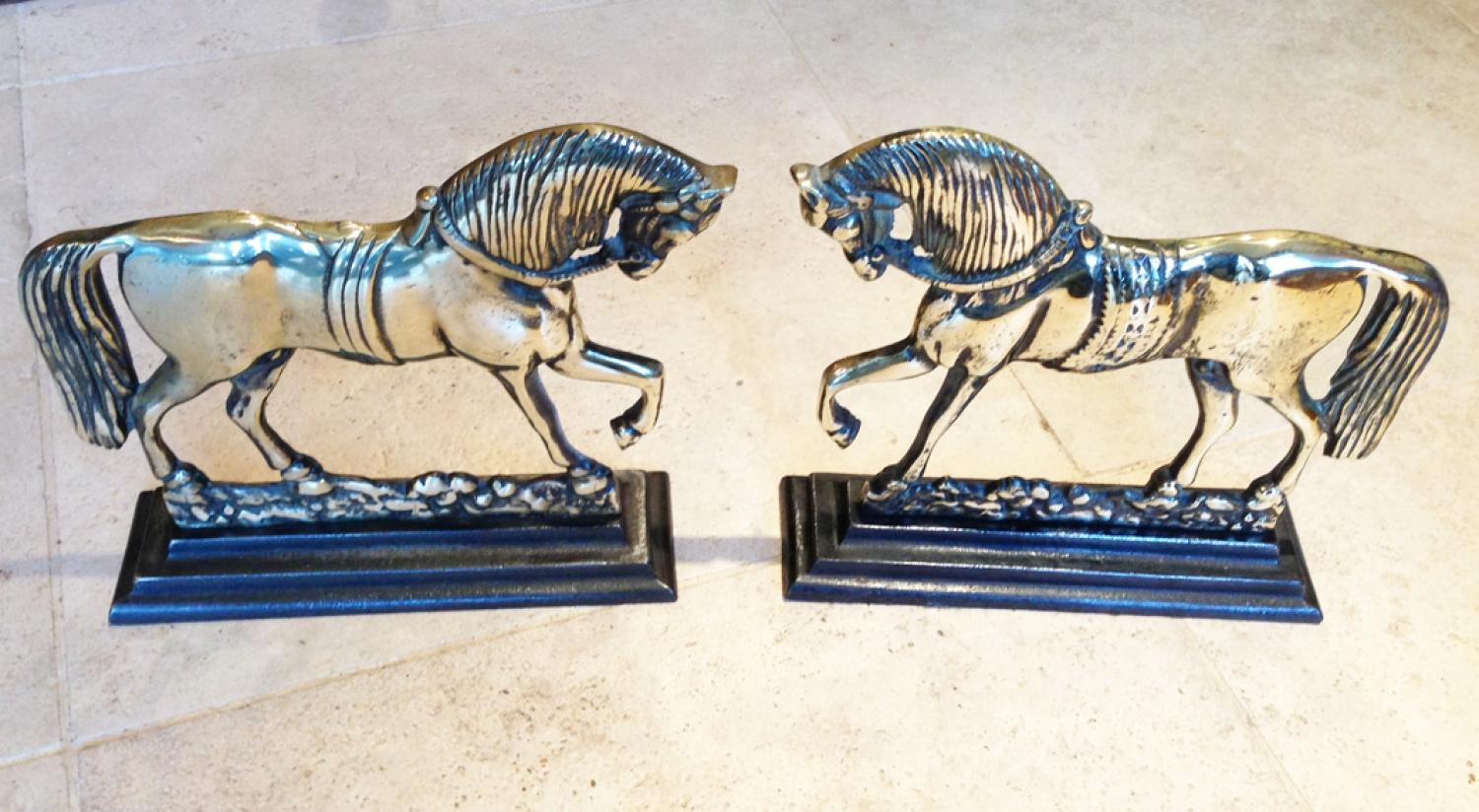 Pair of Brass Horse Chimney Ornaments