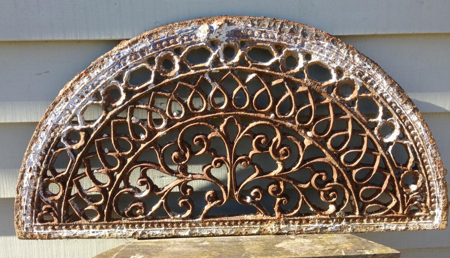 19th Cent Ornate Cast Iron Grill