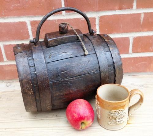 19th Cent Oak Costrel - Harvest Barrel