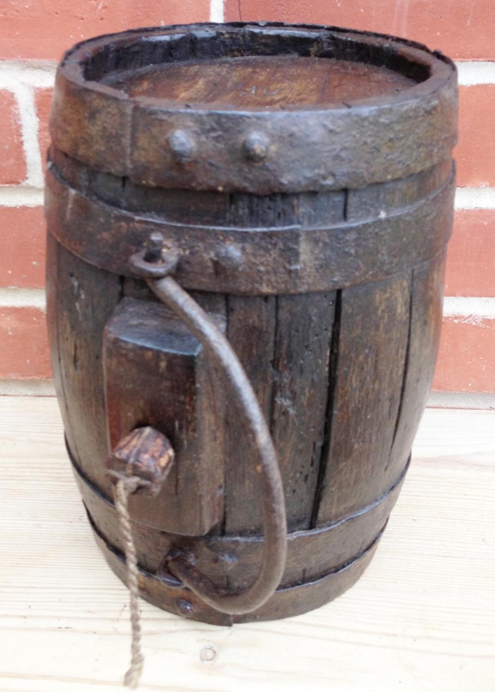 19th Cent Oak Costrel Harvest Barrel In Antique Farm Tools