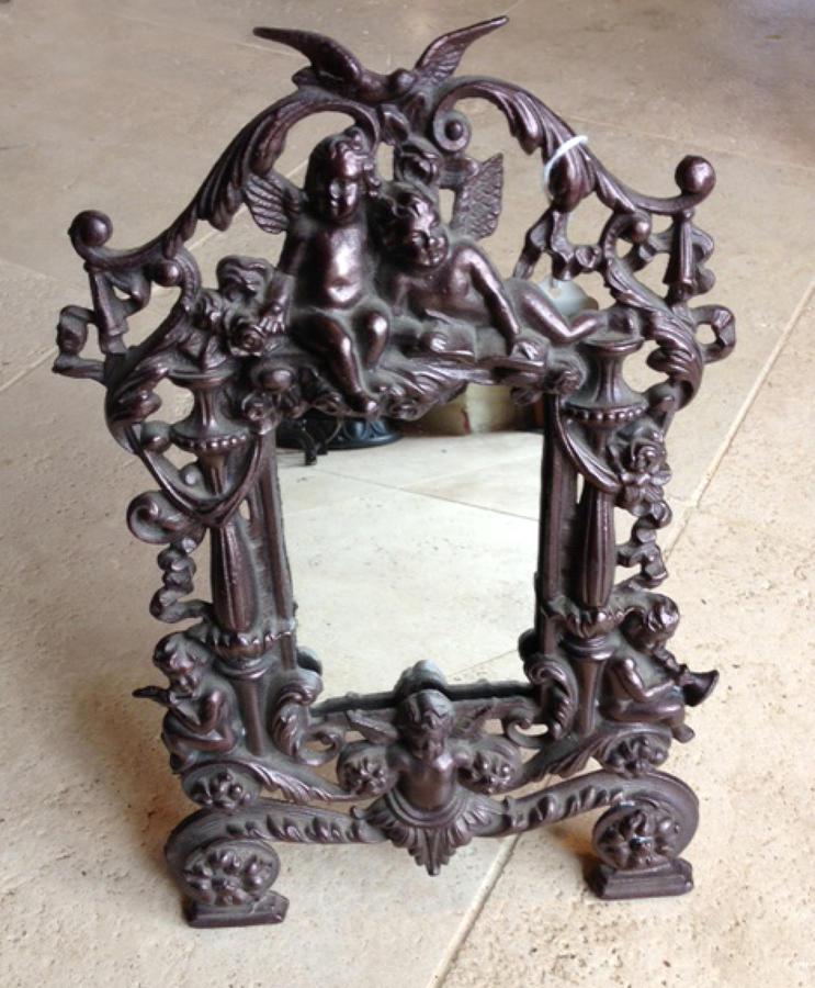 Victorian Ornate Cast Iron Mirror-Frame