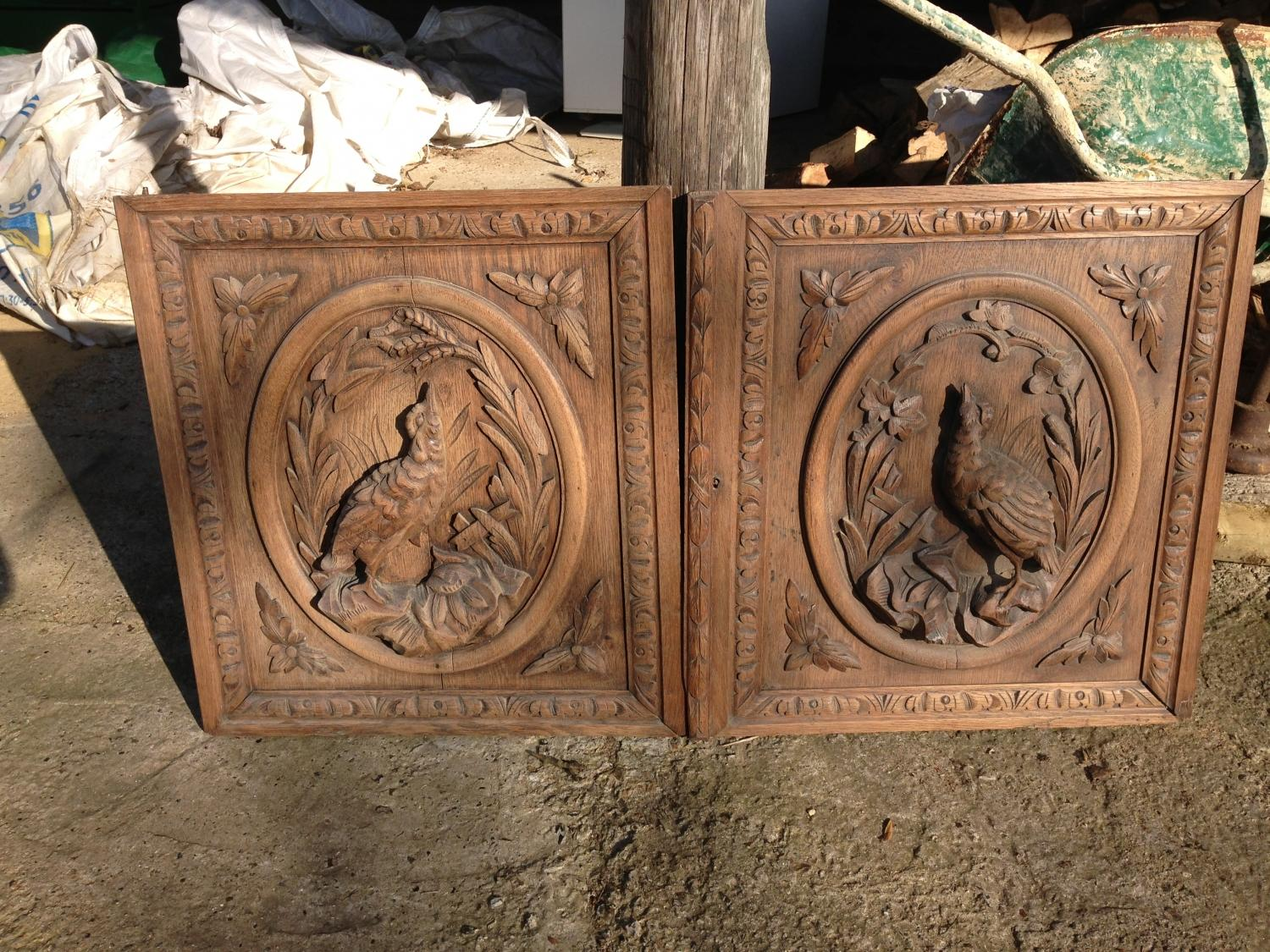 Pair of Antique Carved Bird panels