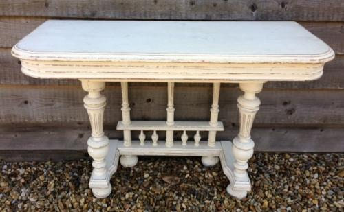 Antique painted Side table with ballustrade b