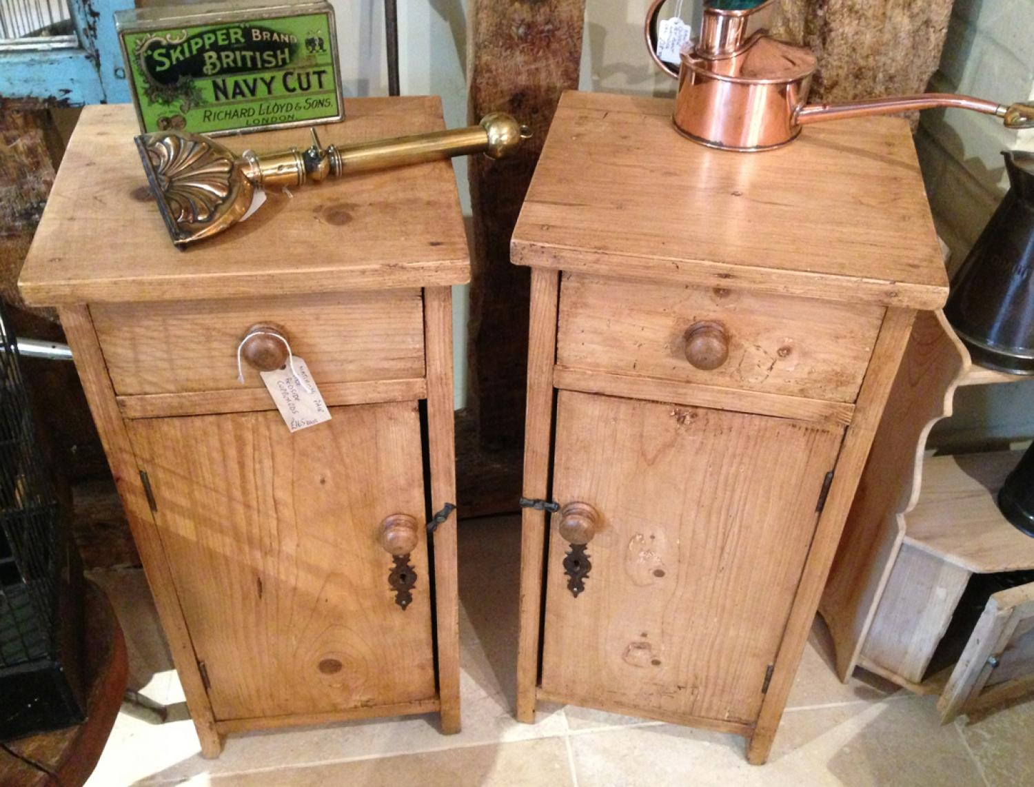 Old Pine Bedside Cupboards