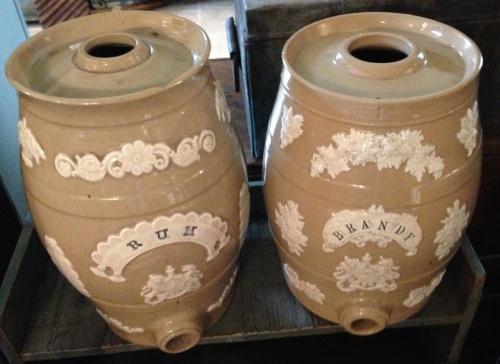 Pair Victorian Decorative Rum & Brandy Kegs