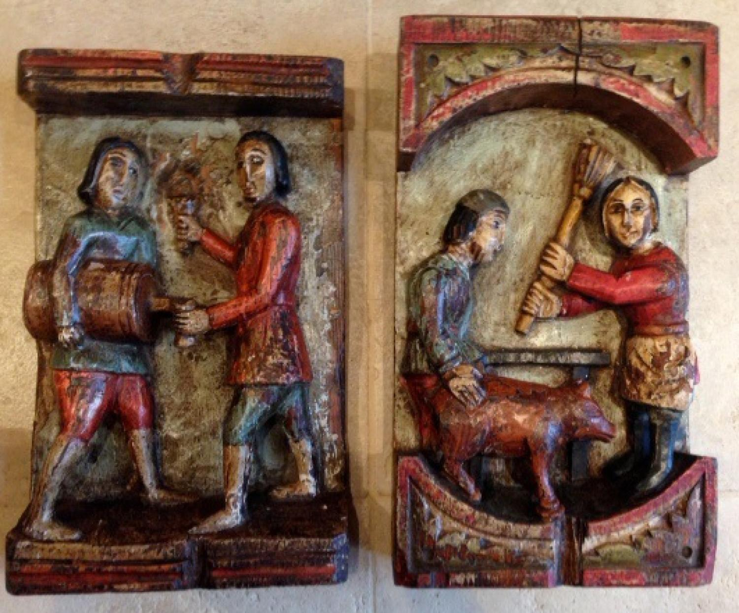 Rare pair 19th cent Folk Art carvings