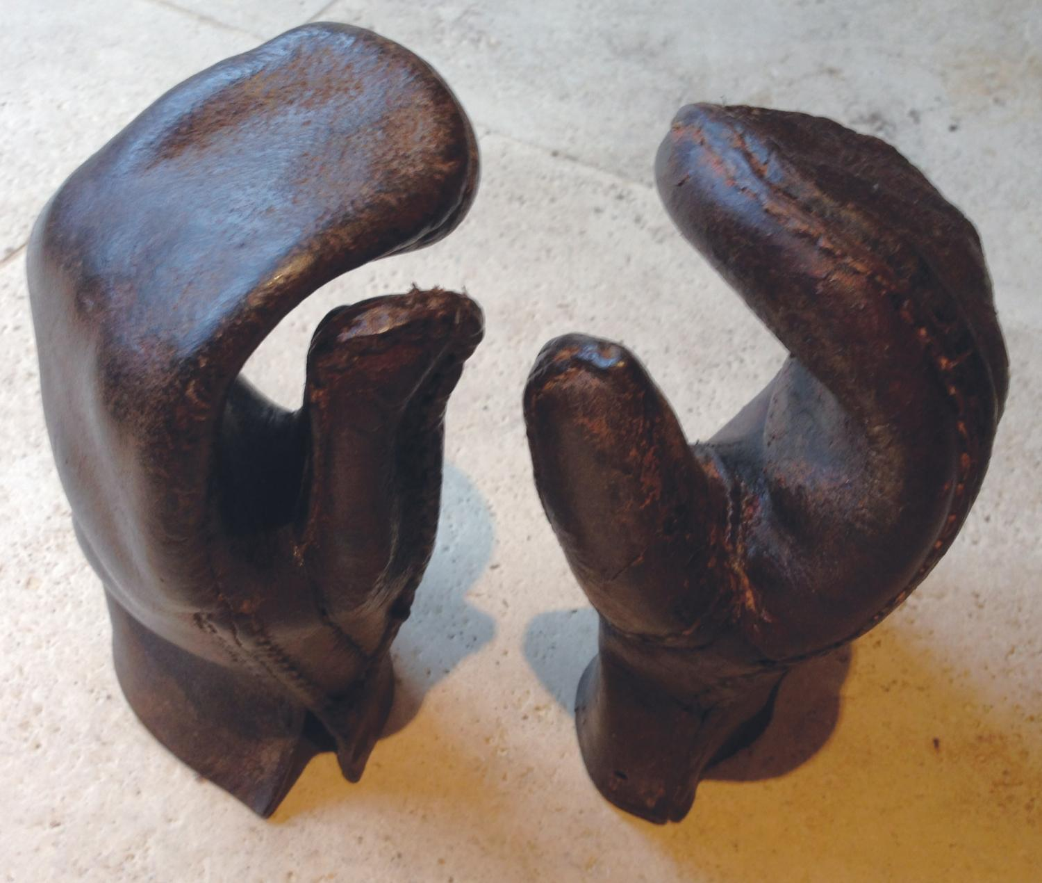 Antique Leather Hedger's Mittens