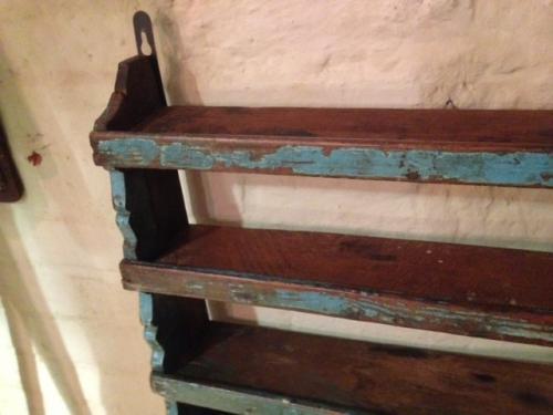19th cent Shelves in original blue paint