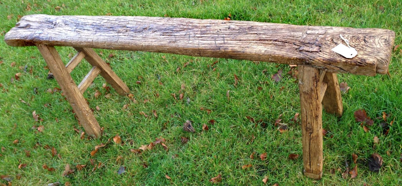 19th Cent Elm Stick Bench