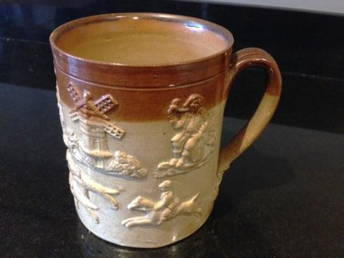 19th Cent 3 Pint Harvest Mug