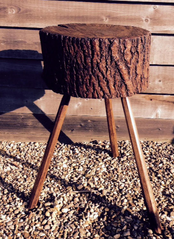 Antique Rustic Chopping Block (Lamp Table)