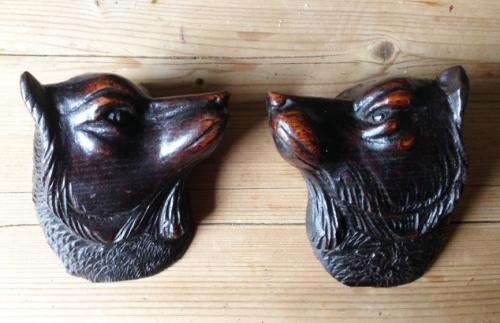 Pair 19th Cent Carved Treen Dogs Heads