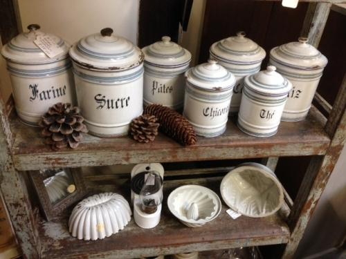 Set of 7 French Enamel Storage Canisters