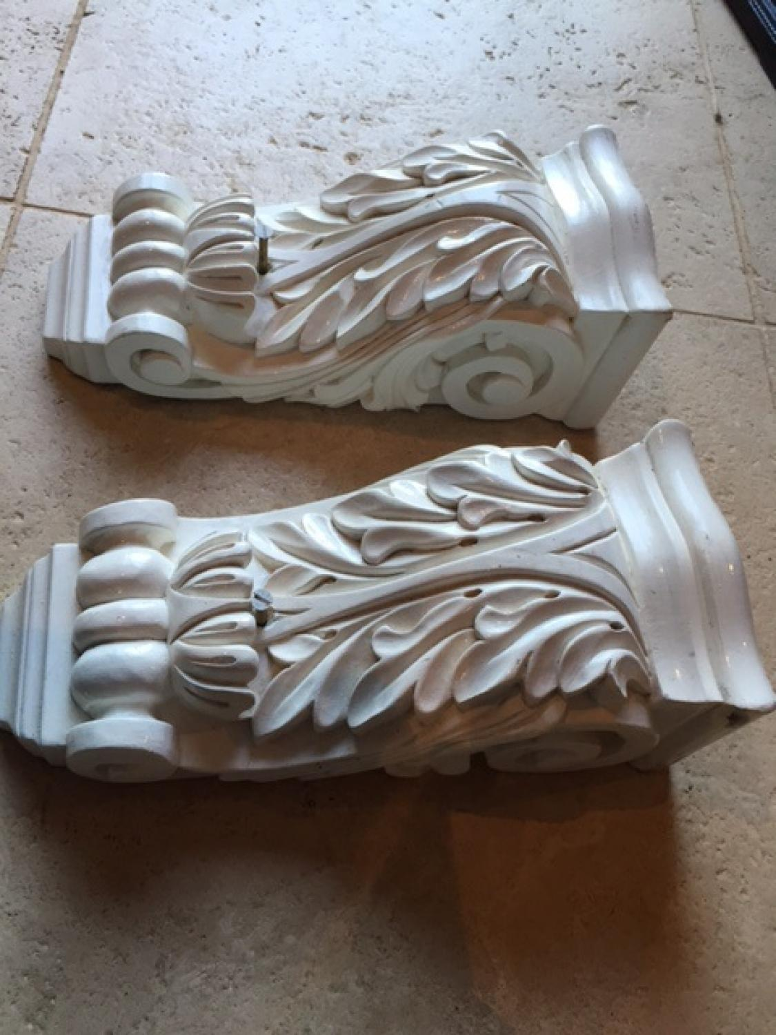 Pair of Carved Wood Brackets