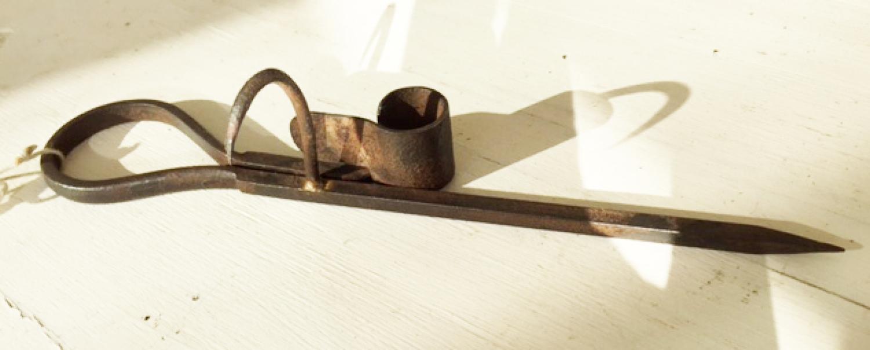 Antique Miner's Candle Holder