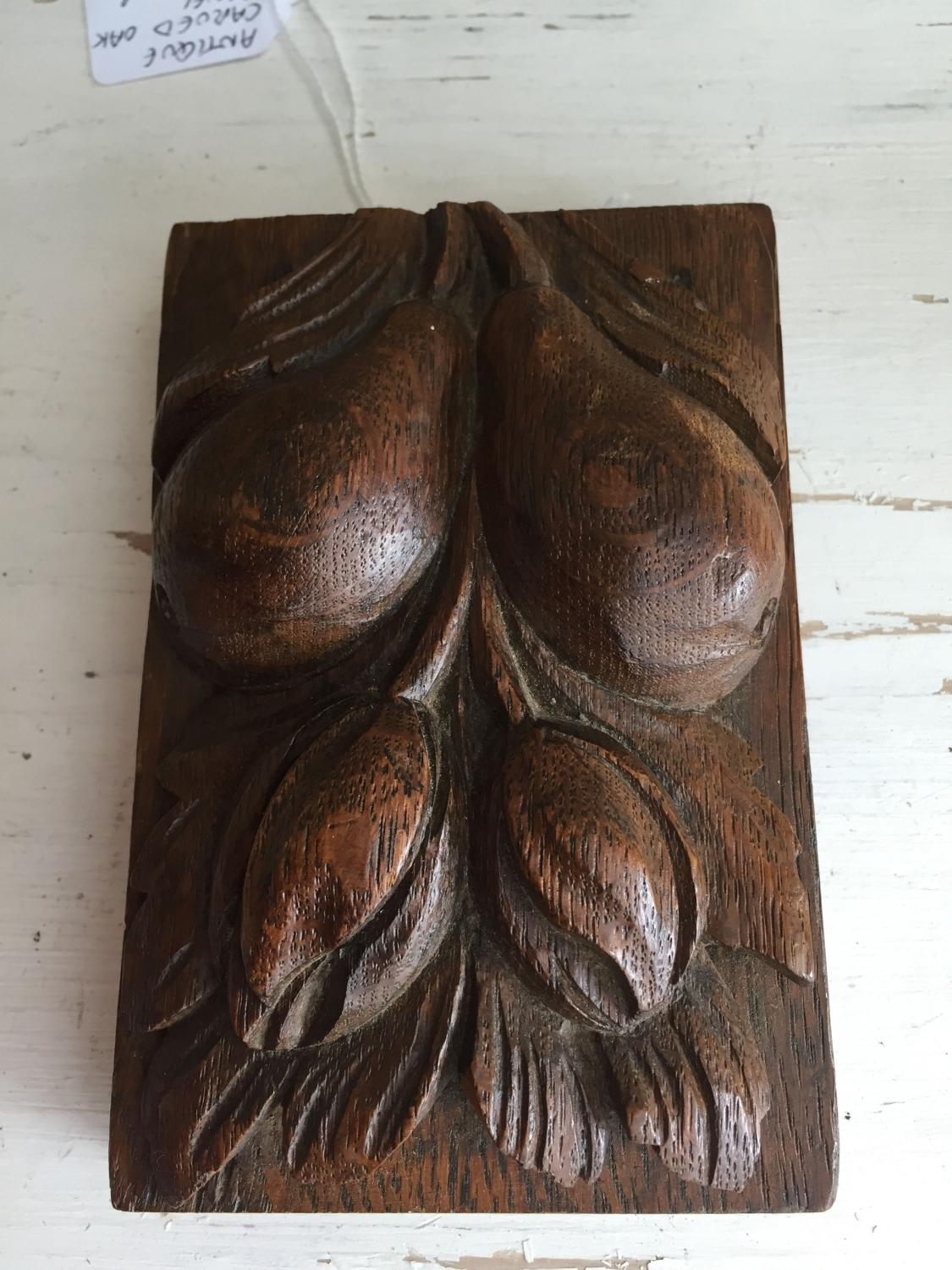 Carved Oak panel Pears
