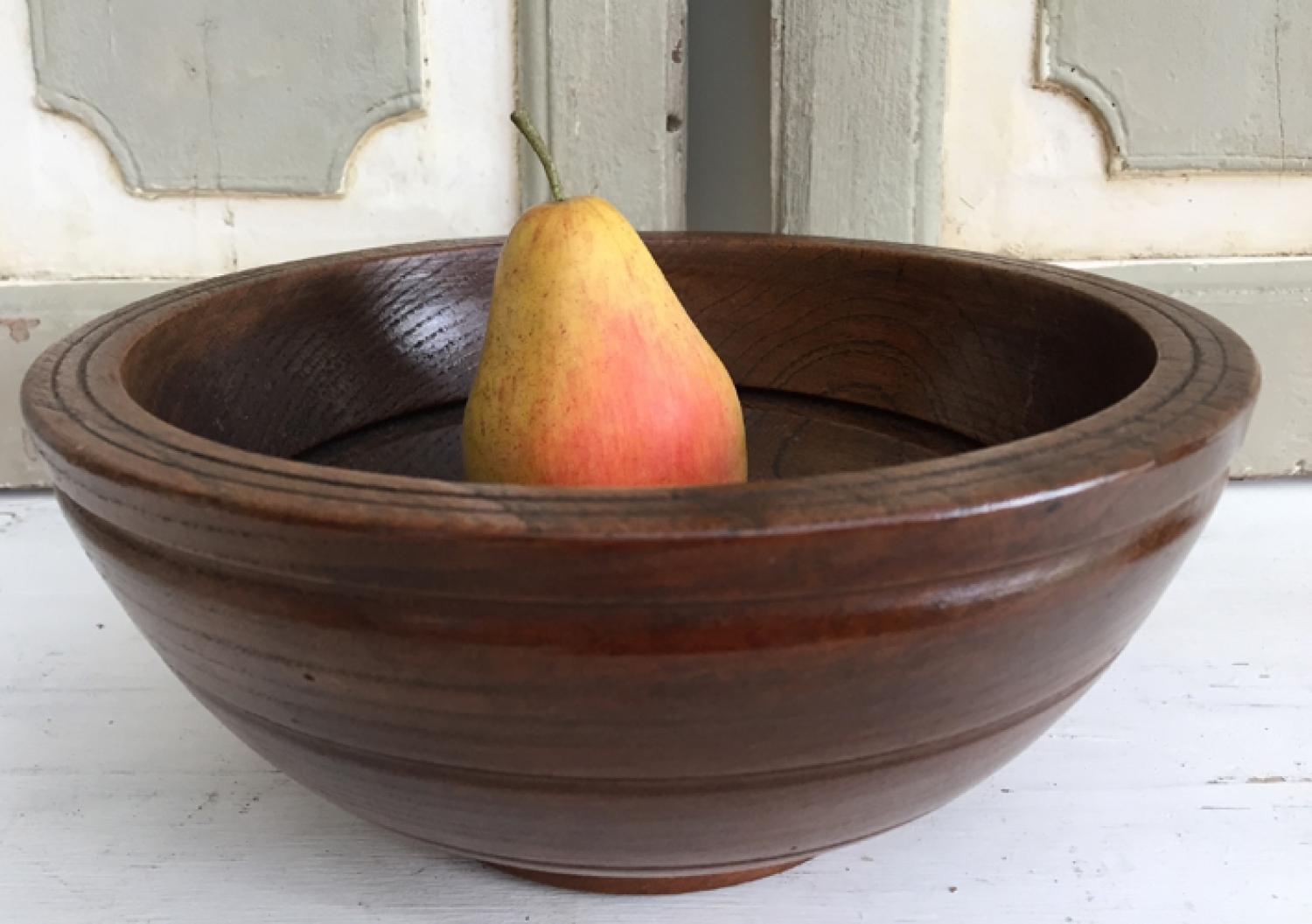 19th Cent Elm Serving Bowl