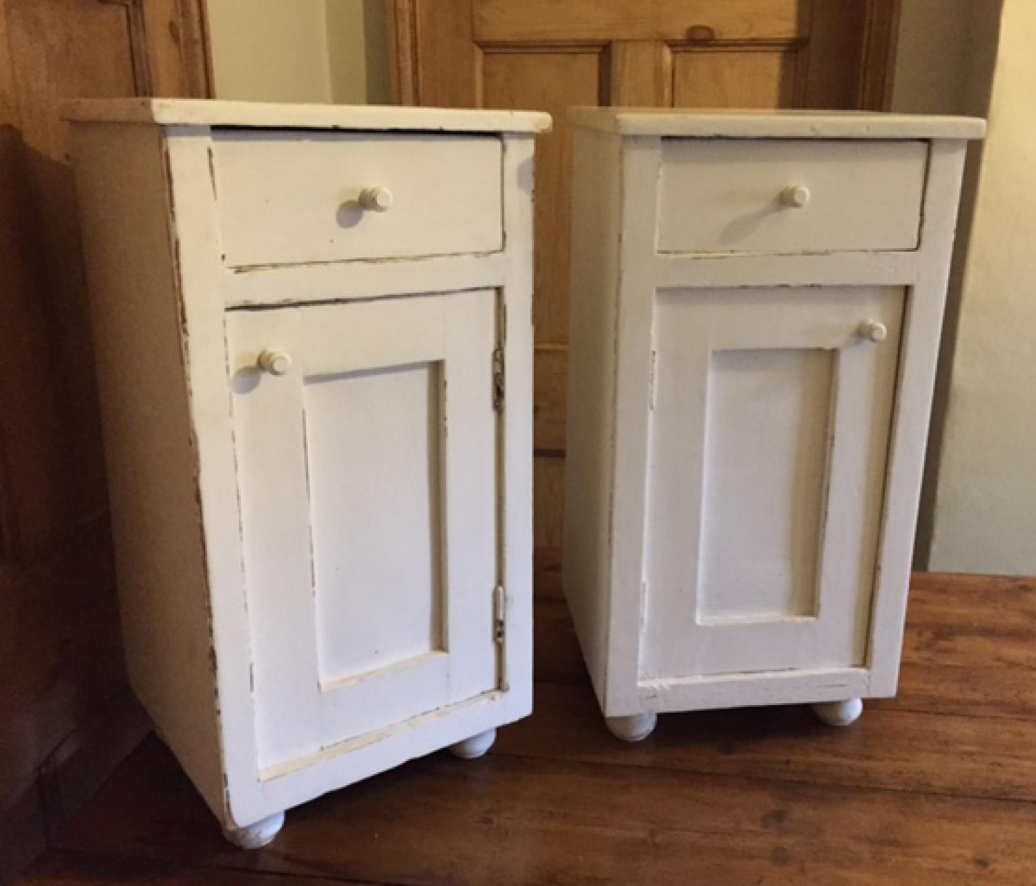 MATCHING PAIR ANTIQUE BEDSIDE CUPBOARDS