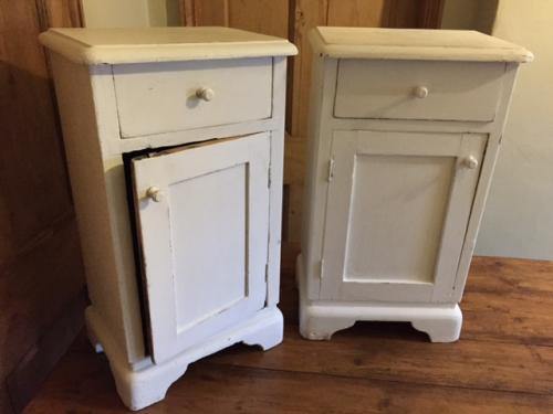 Rare Matching Pair of Antique Bedside Cupboar