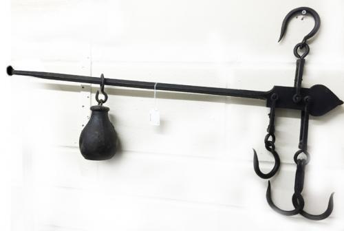 Antique Steelyard Sack (or Butcher\'s) scales