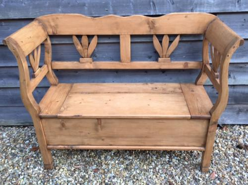 Antique Pine Box Settle