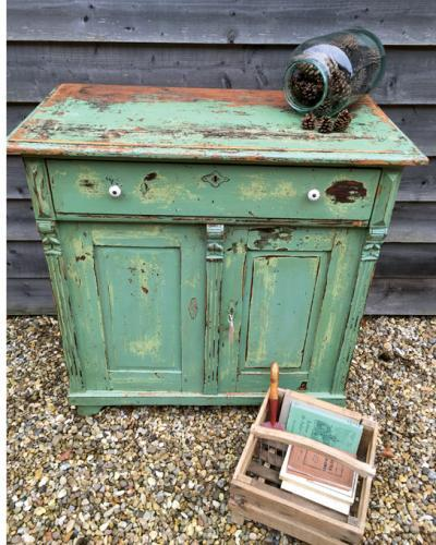 19th Cent Green Painted Cupboard